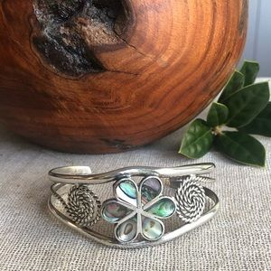 Vintage Mexico Silver and Abalone Cuff Bracelet